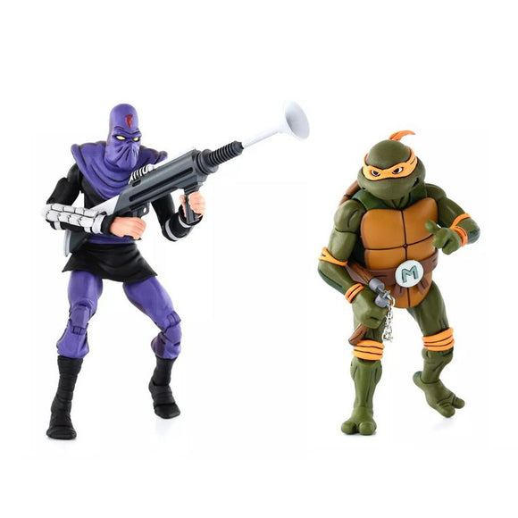 TMNT Cartoon 2-Pack - Michaelangelo vs Foot Soldier