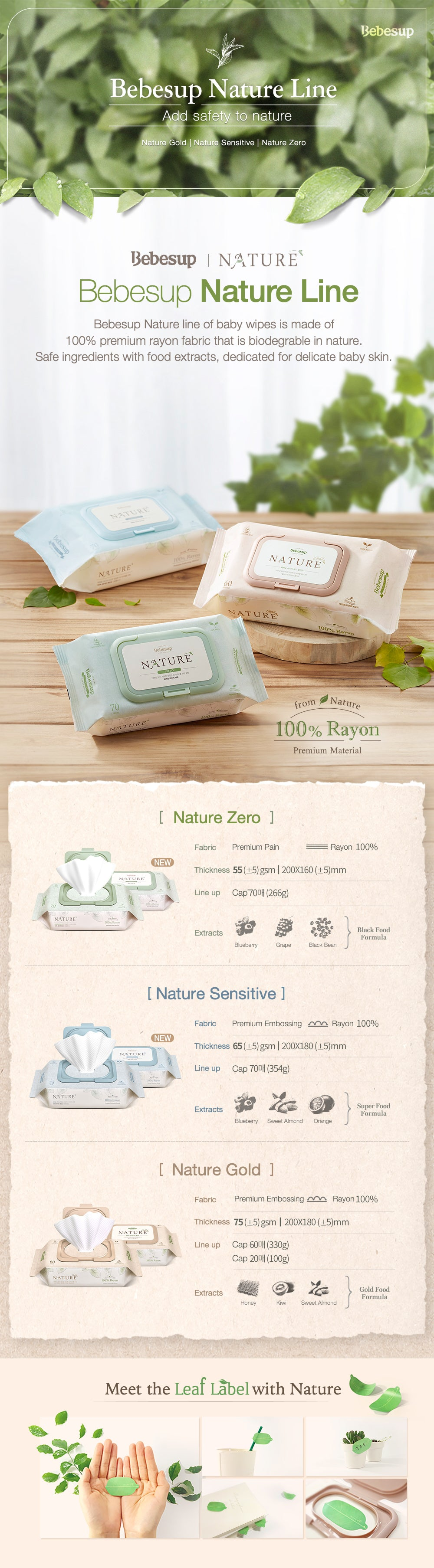 Biodegradable Bebesup Nature Line | Love of Nature