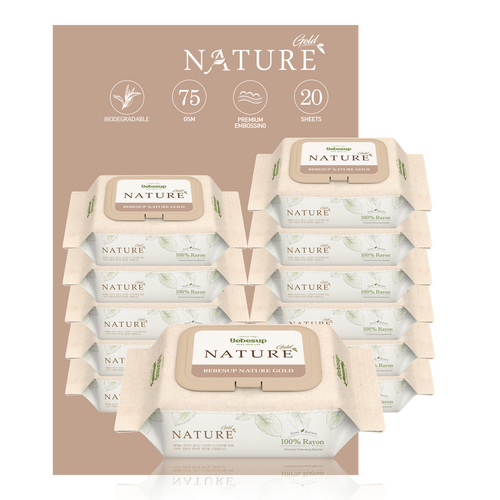 Bebesup Biodegradable Nature Gold Baby Wipes, 20s x 12 Packs