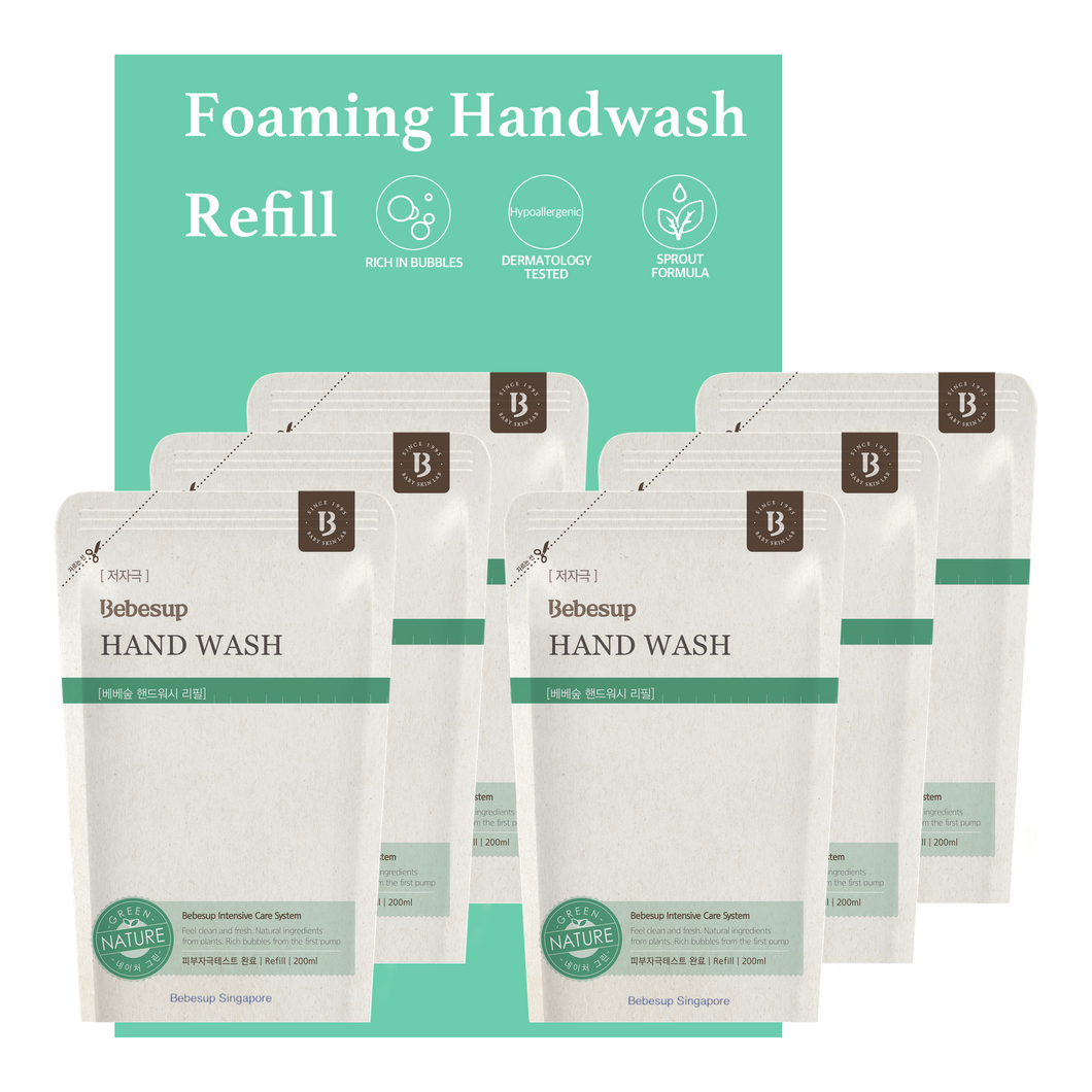 [Refill]Bebesup Foaming Hand Wash Refill, 200ml x 6 (Nature Green)