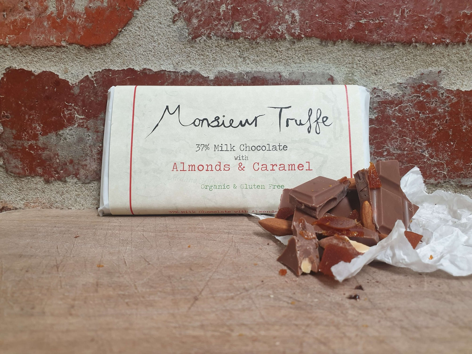 Organic Monsieur Truffe - Single-Origin 37% Milk Caramel and Almonds - City Chocolates