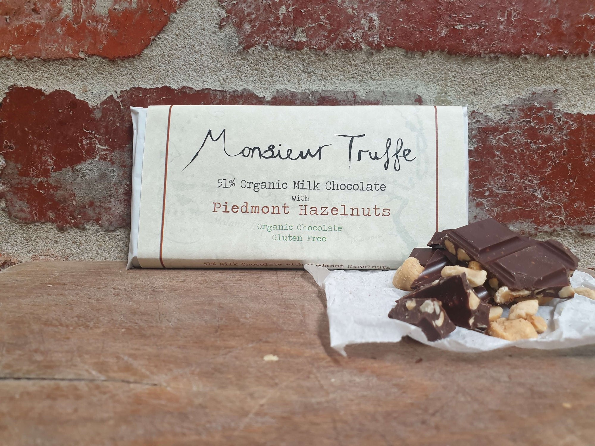 Organic Monsieur Truffe- 51% Milk with Piedmonte Hazelnuts - City Chocolates