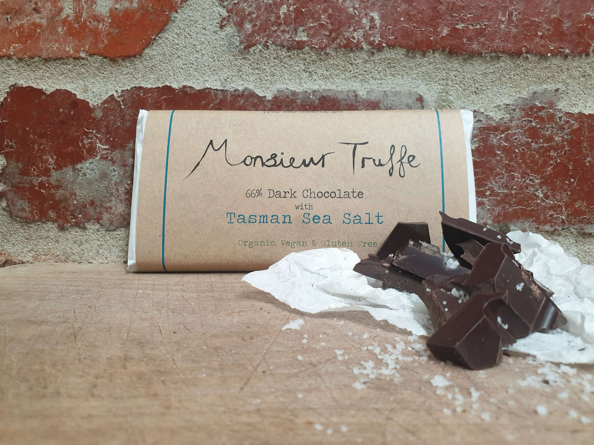 Organic Monsieur Truffe - Single Origin 66% Dark with Tasman Sea-Salt - Dairy-Free, Vegan