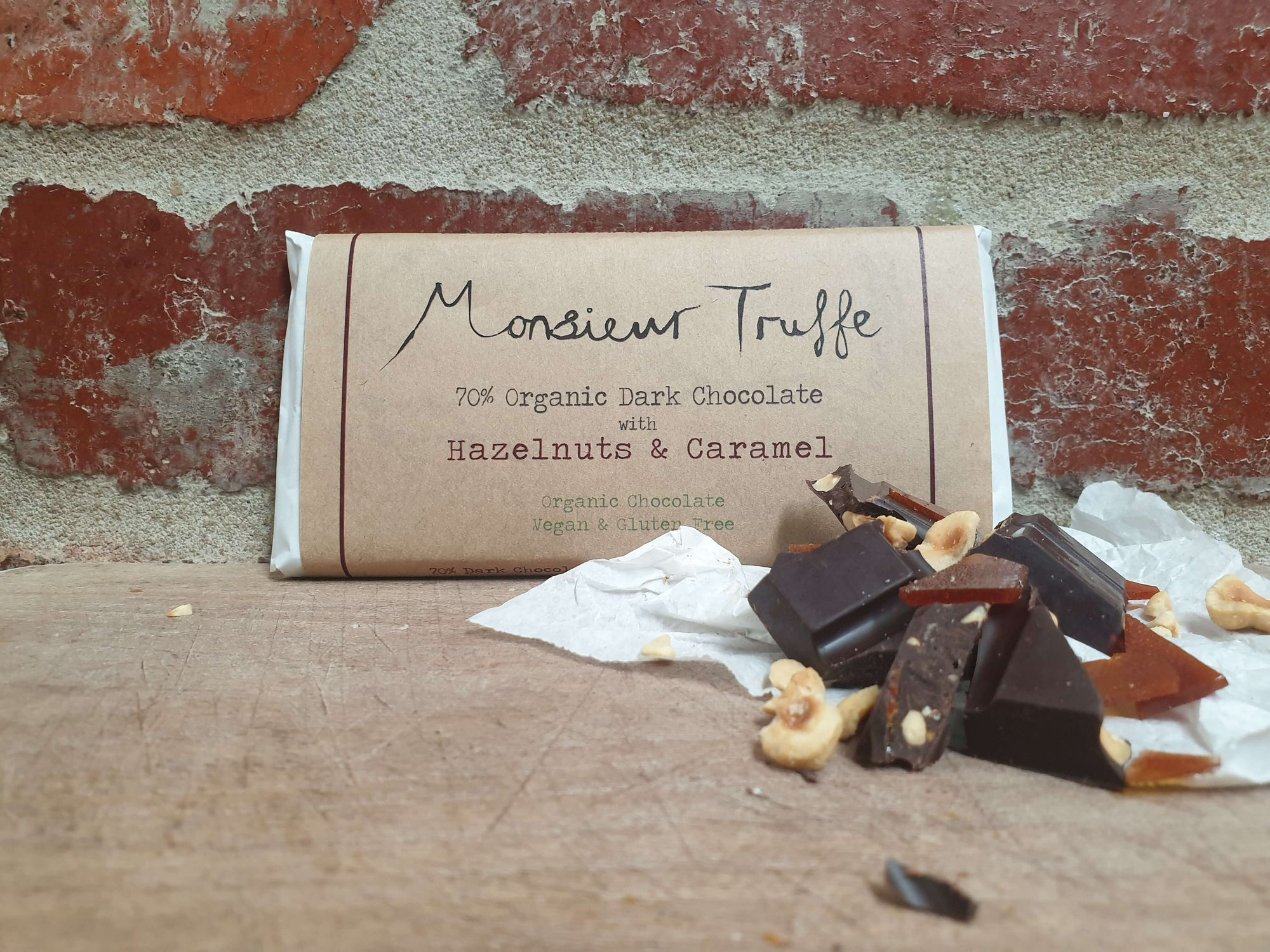 Organic Monsieur Truffe - 70% Dark Caramel & Hazelnuts - Vegan - City Chocolates