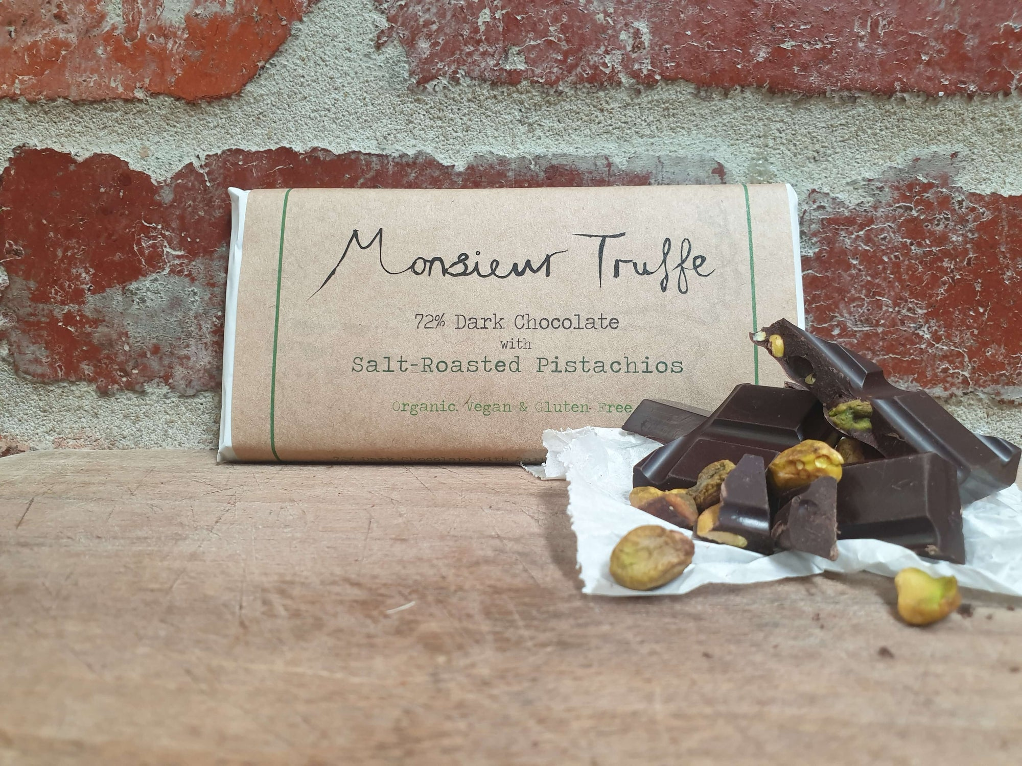 Organic Monsieur Truffe - 72% Dark with Salt-Roasted Pistachios - Vegan - City Chocolates