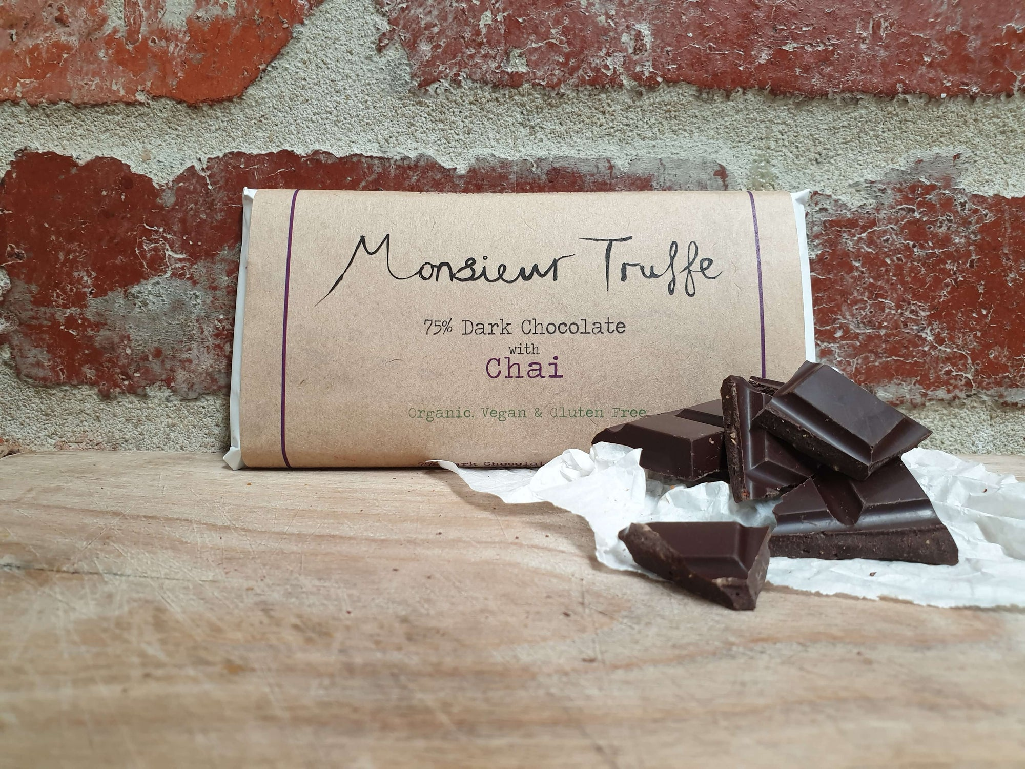 Organic Monsieur Truffe - 75% Dark with Chai - Dairy-Free, Vegan