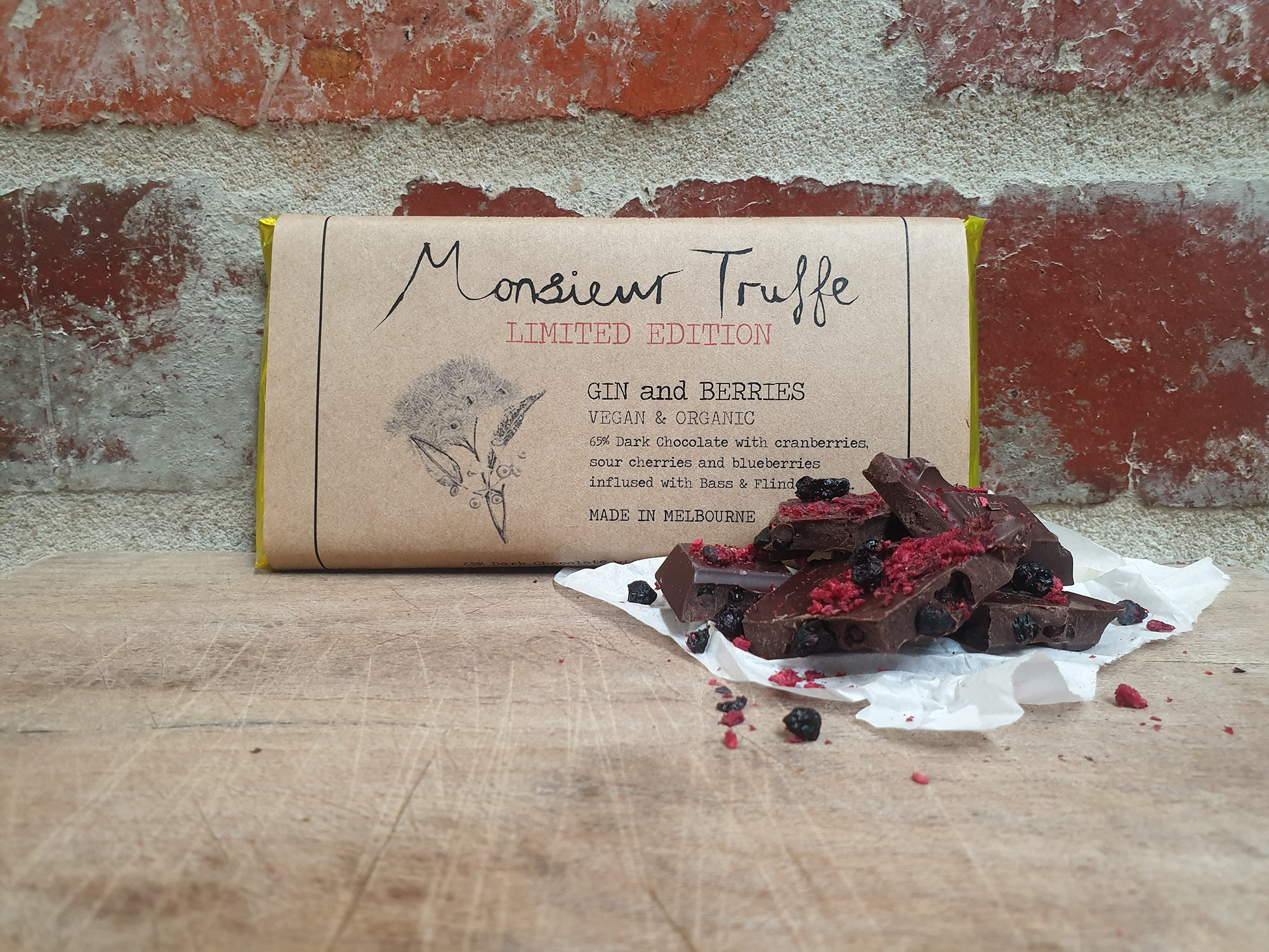 Organic Monsieur Truffe - 65% Dark with Gin and Berries - Vegan - City Chocolates