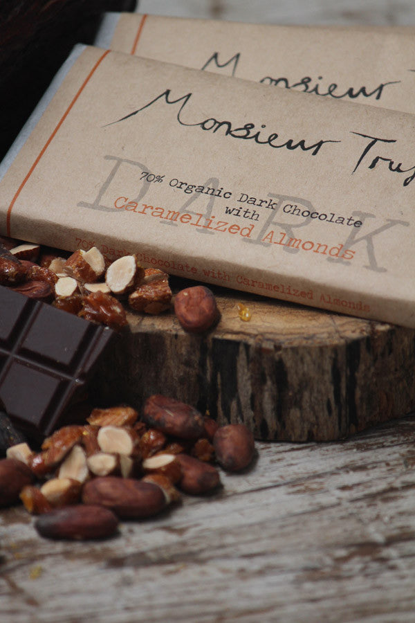 Organic Monsieur Truffe Dark Caramel and Almonds Chocolate Bar