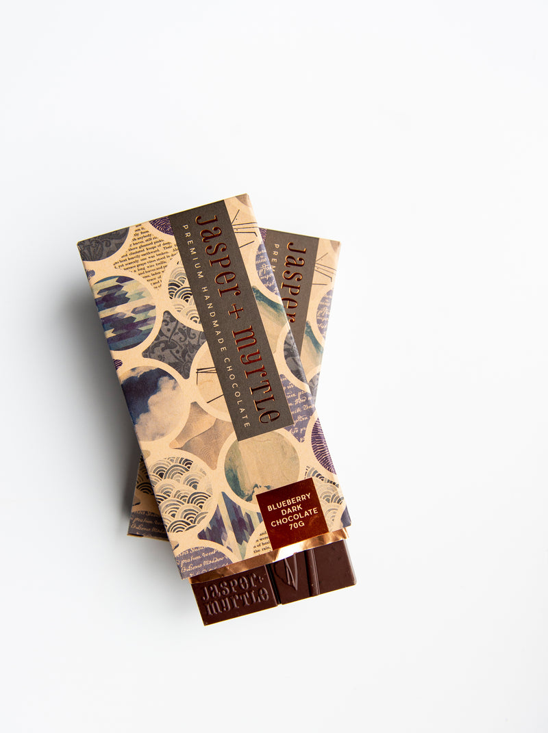 Jasper + Myrtle - 66% Blueberry Dark Chocolate (70g)