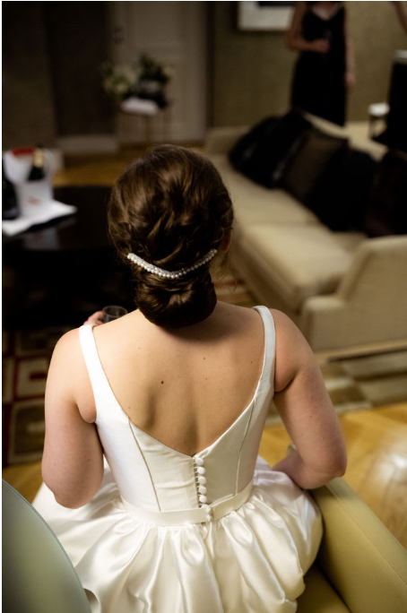 Couture bridal headpiece freshwater pearls wedding day photo