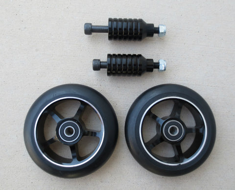 DIS 100mm Black on Black Scooter Wheels and Black Pegs Set
