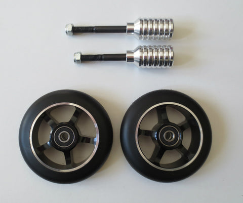 DIS 100mm Black on Black Scooter Wheels and Silver Pegs Set