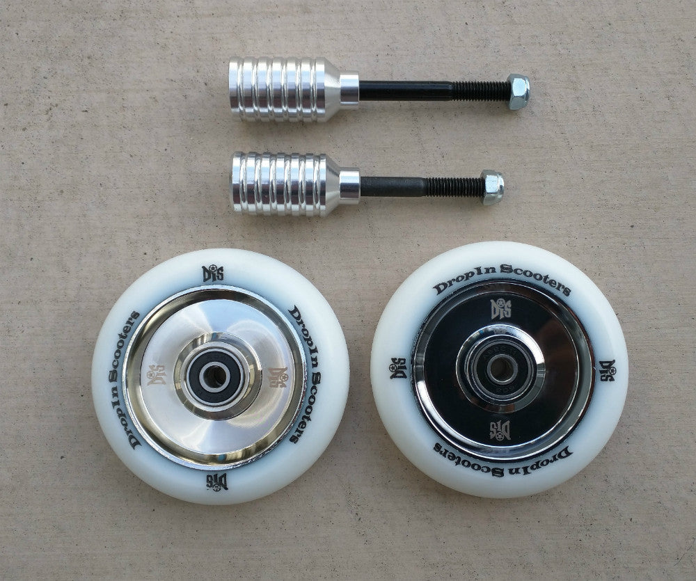 DIS 100mm Hollow Core Scooter Wheels and Silver Pegs Set