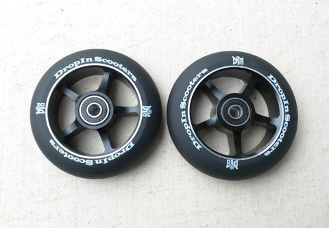DIS Black on Black 5-Spoke 100mm Metal Core Scooter Wheels