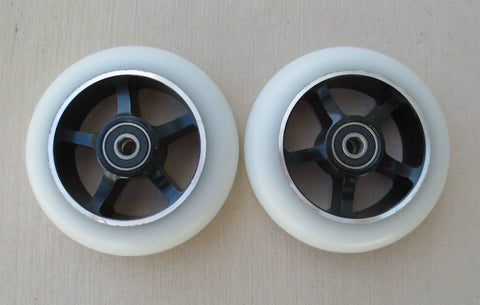 DIS White on Black 5-Spoke 100mm Metal Core Scooter Wheels