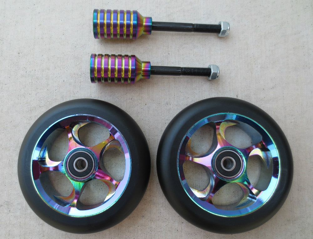 DIS 110mm Black Slick Wheels and Pegs Set