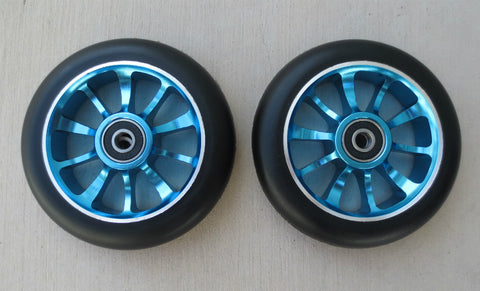DIS 110mm Black on Blue 10-spoke Metal Core Scooter Wheels