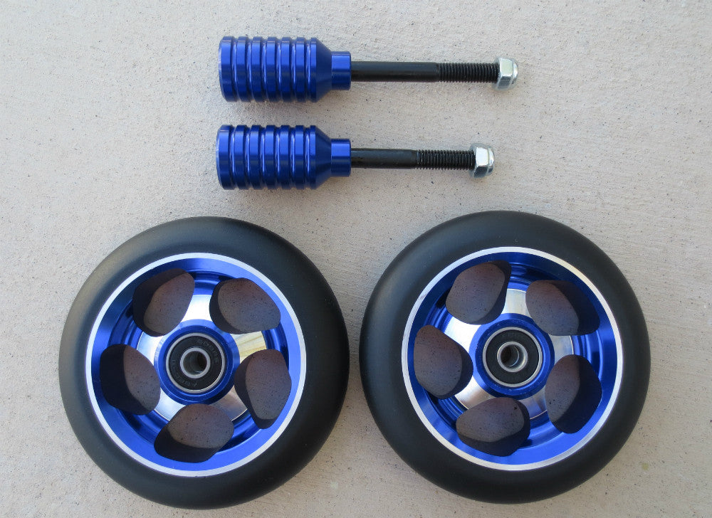 DIS 110mm Soft Landing Wheels and Metallic Blue Pegs Set