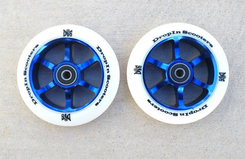 DIS 110mm Blue Metal Core Wheels - 6 spoke