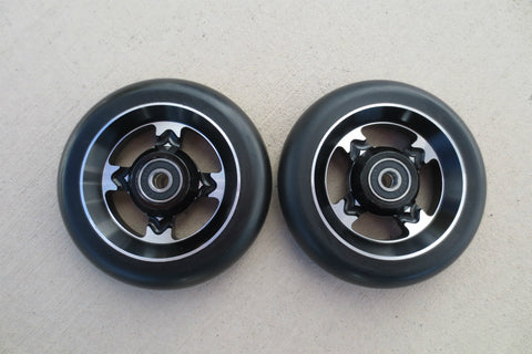 110mm Black on Black 4 Spoke Metal Core Scooter Wheels