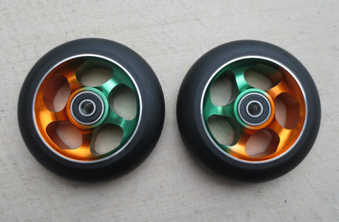 DIS Black on Rasta 5-Spoke 100mm Metal Core Scooter Wheels