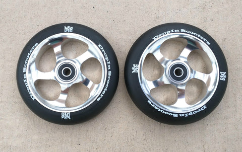 DIS 120mm 5-spoke Park wheels – Black on Silver