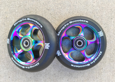 DIS 110mm Wide Slicks – Rainbow Metallic 30mm wide wheels