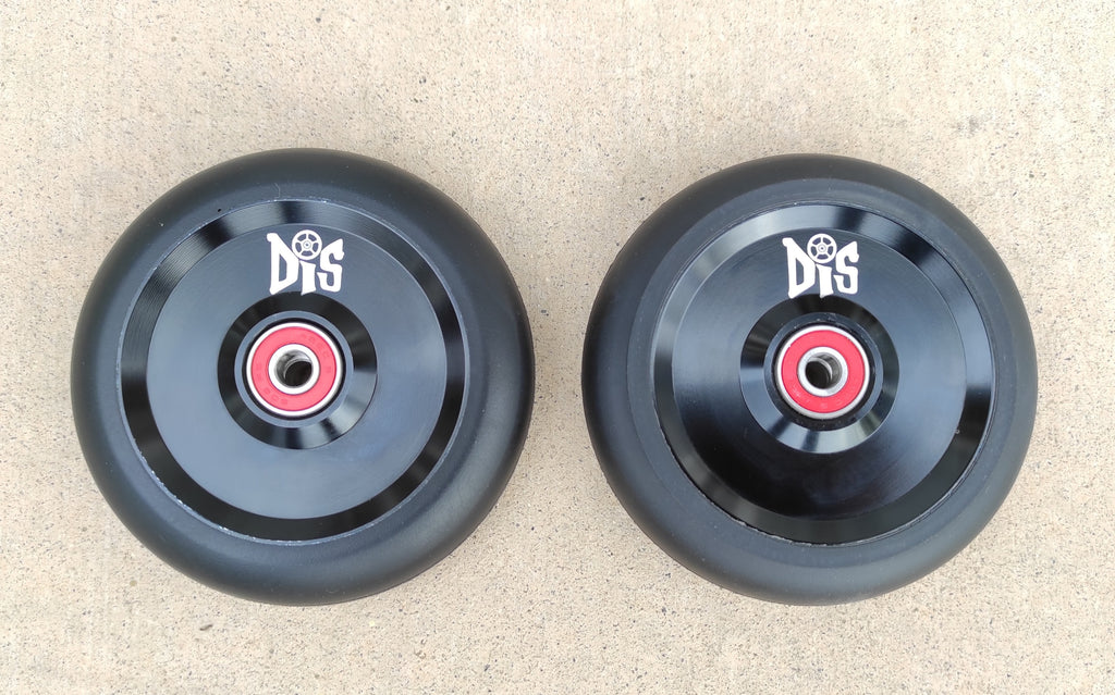 DIS 110mm Black on Black Solid Metal Core Scooter Wheels