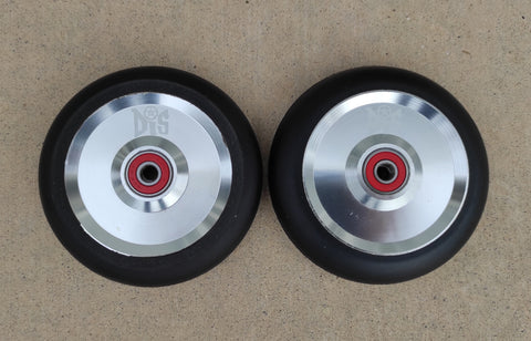 DIS 110mm Black on Silver Solid Metal Core Scooter Wheels