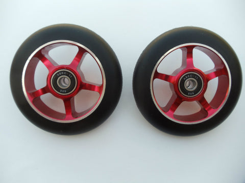 DIS Black on Red 5-Spoke 100mm Metal Core Scooter Wheels