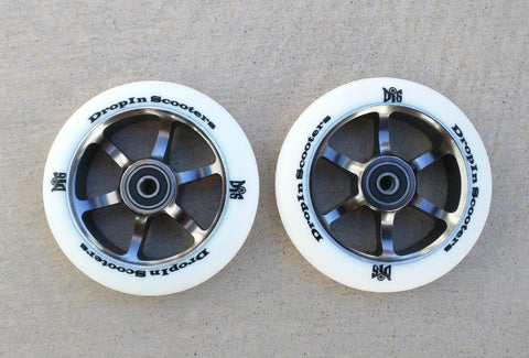 DIS 110mm White Guns – 6 Spoke Metal Core Scooter Wheels