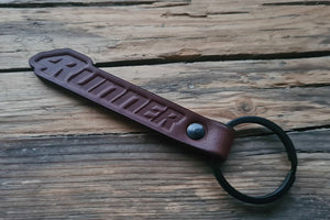 Embossed Brown Leather Keychain for Toyota 4Runner