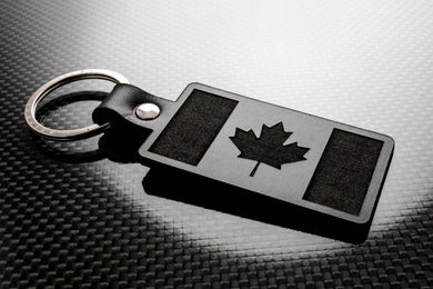 Leather Keychain Keyring Canada Flag