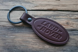 Embossed Brown Leather Keychain for Land Rover (Symbol)