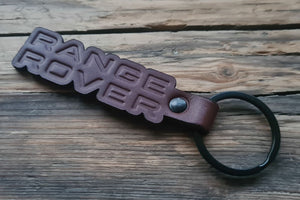 Embossed Brown Leather Keychain for Range Rover (Die Cut)