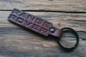 Embossed Brown Leather Keychain for Range Rover