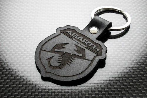 Leather Keychain Keyring for FIAT Abarth (Symbol)
