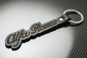 Leather Keychain for Alfa Romeo (Script)