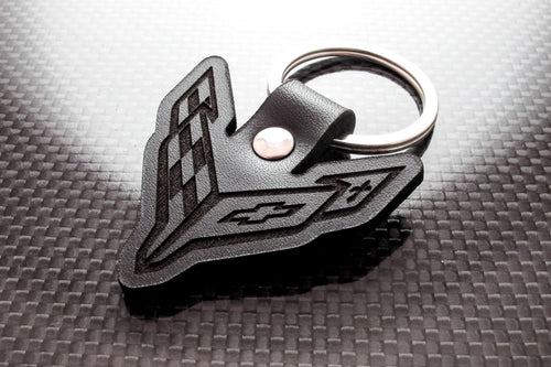 Leather Keychain for Chevrolet Corvette C8