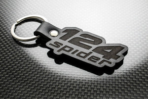 Leather Keychain Keyring for FIAT 124 Spider (Logo)