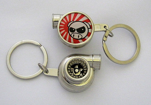Spinning Turbo Keychain - JDM Drift Pig Logo
