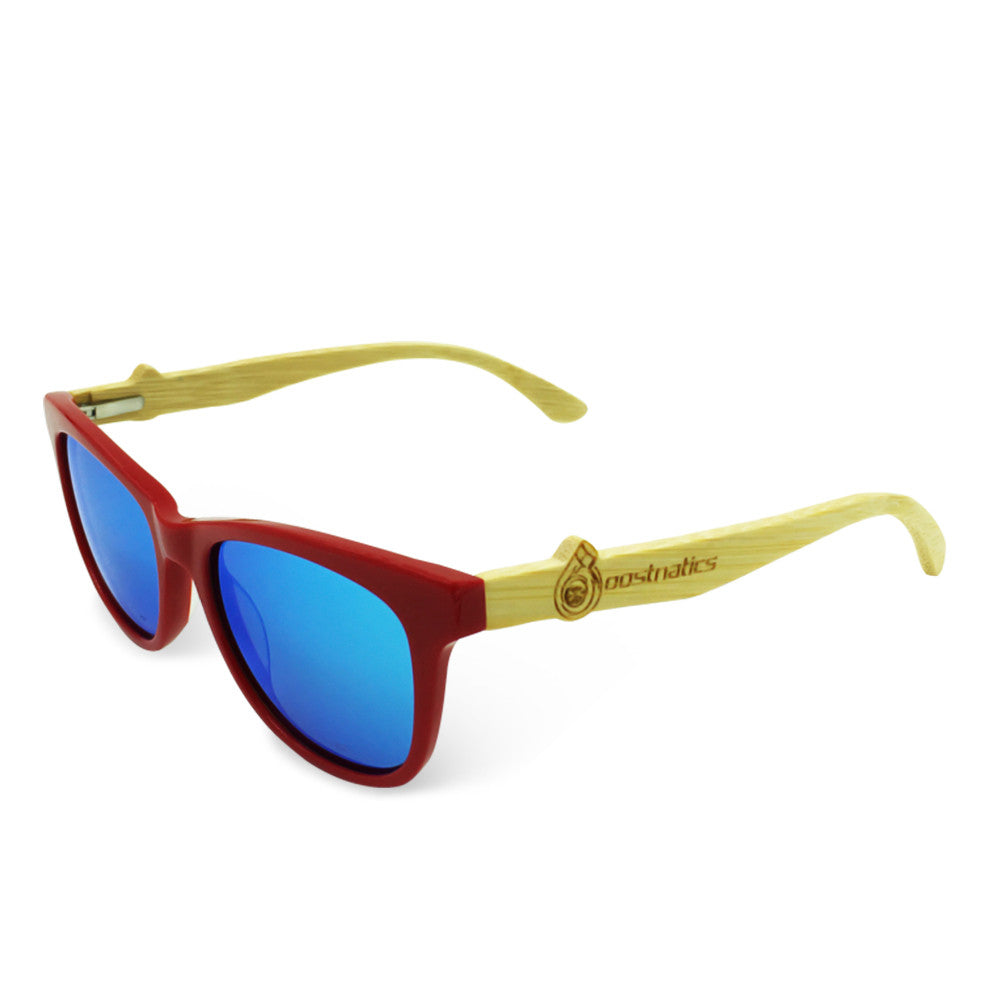 Boostnatics Bamboo Boosted Turbo Shades - Red / Polarized Ice Blue