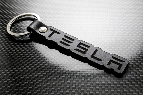 Leather Keychain for Tesla (Text)