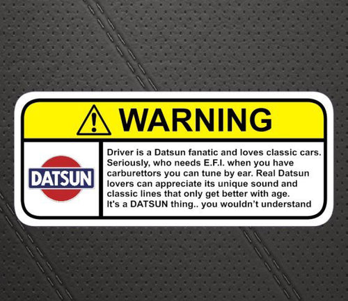 Datsun Warning Decal