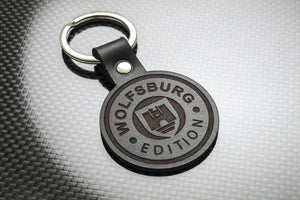 Leather Keychain Keyring for Volkswagen VW Wolfsburg (Roundel)