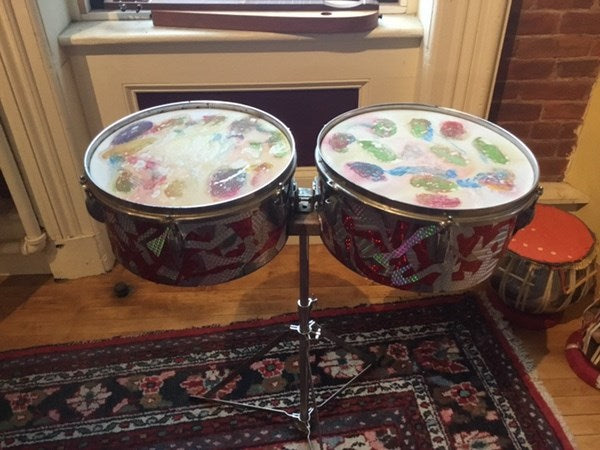 Timbales Pair with Stand - Owned, Signed, Painted by Dean Nimmer