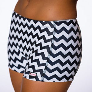 Crazy Pants Spankies - Black and White Chevron
