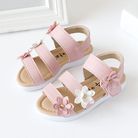 Summer Kids Children Sandals Fashion Big Flower Girls Flat Pricness Shoes