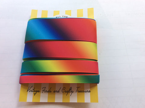 Rainbow printed and striped ribbon sets.