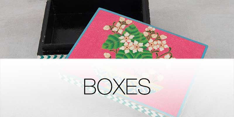 Decorative and storage boxes on Hutsly